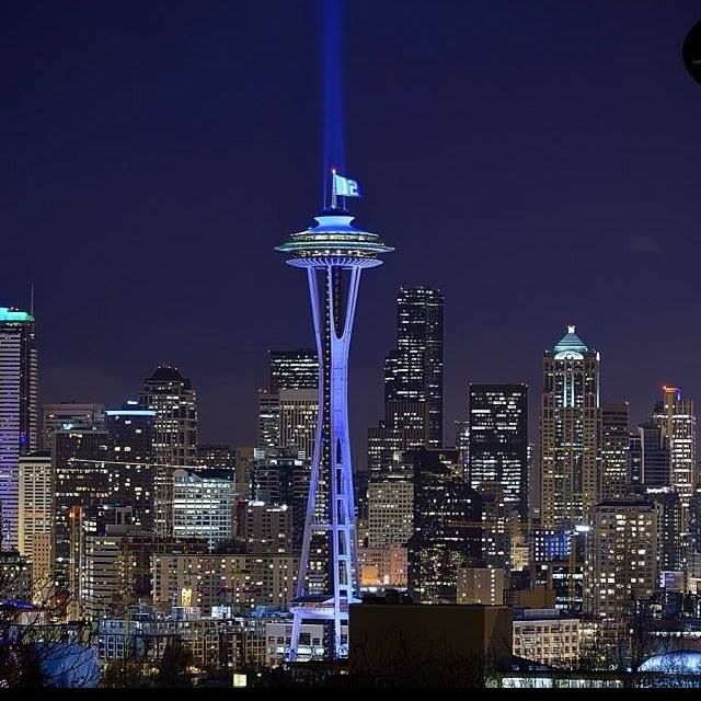 Space needle blue and 12 flag